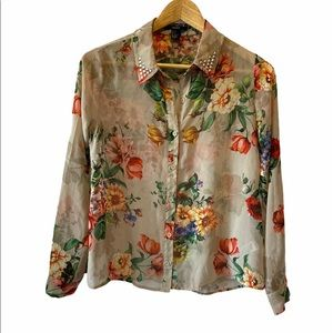 FOREVER 21 Sheer Floral Studded Collar Button Up S